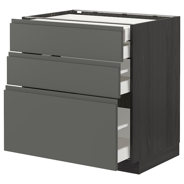 METOD / MAXIMERA Élément bas 3faces/2tir bs+1moy+1ht, noir/Voxtorp gris foncé, 80x60 cm