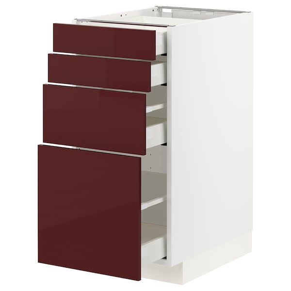 METOD / MAXIMERA Élément bas 4 faces/4 tiroirs, blanc Kallarp/brillant brun-rouge foncé, 40x60 cm