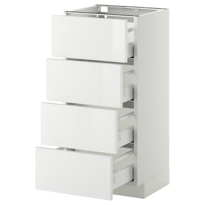 METOD / MAXIMERA Élément bas 4 faces/4 tiroirs, blanc/Ringhult blanc, 40x37 cm