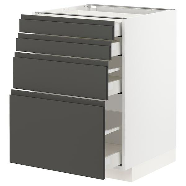 METOD / MAXIMERA Élément bas 4 faces/4 tiroirs, blanc/Voxtorp gris foncé, 60x60 cm