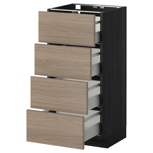 METOD / MAXIMERA Élément bas 4 faces/4 tiroirs, noir/Brokhult gris clair, 40x37 cm