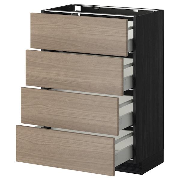 METOD / MAXIMERA Élément bas 4 faces/4 tiroirs, noir/Brokhult gris clair, 60x37 cm