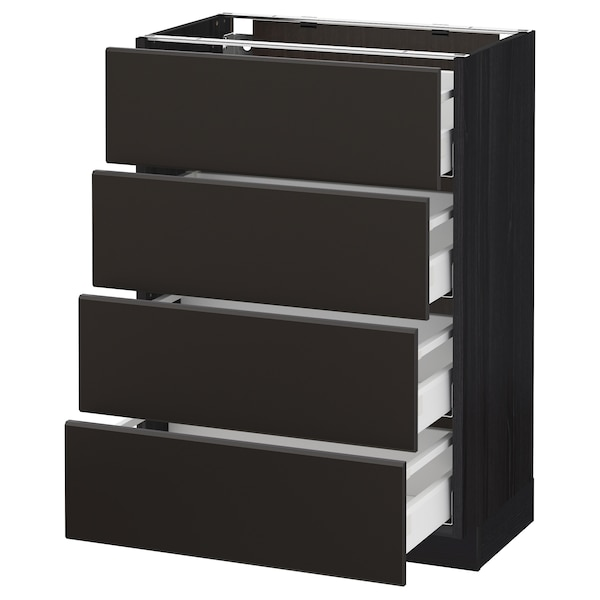 METOD / MAXIMERA Élément bas 4 faces/4 tiroirs, noir/Kungsbacka anthracite, 60x37 cm