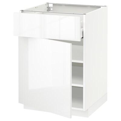 METOD / MAXIMERA Élément bas avec tiroir/porte, blanc/Ringhult blanc, 60x60 cm