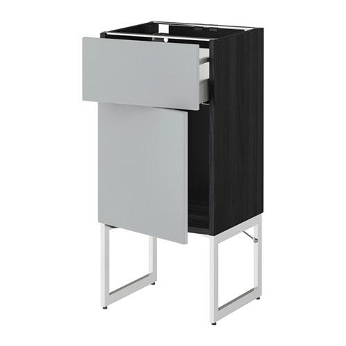 metod maximera l ment bas avec tiroir porte effet bois noir veddinge gris 40x37x60 cm ikea. Black Bedroom Furniture Sets. Home Design Ideas