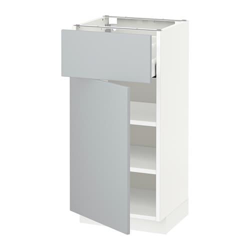 Metod Maximera L Ment Bas Avec Tiroir Porte Blanc Veddinge Gris 40x37 Cm Ikea