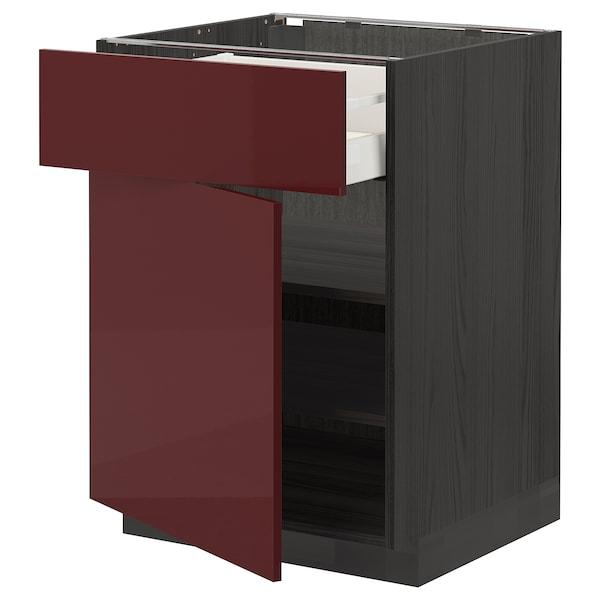 METOD / MAXIMERA Élément bas avec tiroir/porte, noir Kallarp/brillant brun-rouge foncé, 60x60 cm