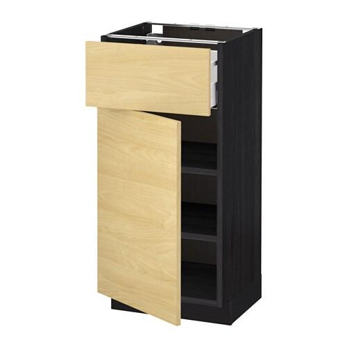 metod maximera l ment bas avec tiroir porte effet bois noir tingsryd motif bouleau 40x37. Black Bedroom Furniture Sets. Home Design Ideas