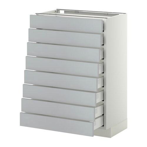 Metod maximera l ment bas 8faces 8tiroirs bas blanc veddinge gris 60x3 - Element bas cuisine ikea ...