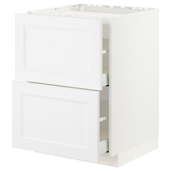 METOD / MAXIMERA Élément bas table cuisson/2fcs/2tir, blanc/Axstad blanc mat, 60x60 cm
