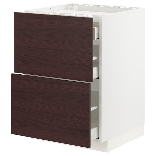 METOD / MAXIMERA Élément bas table cuisson/2fcs/3tir, blanc Askersund/brun foncé décor frêne, 60x60 cm