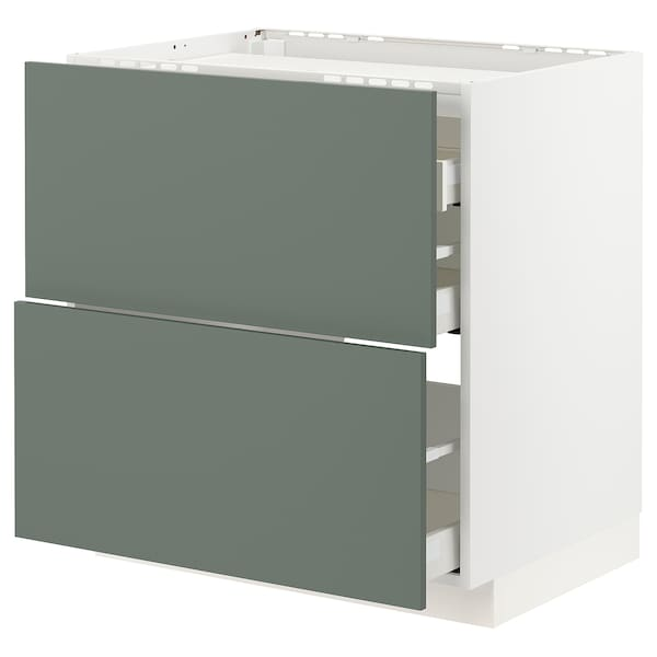 METOD / MAXIMERA Élément bas table cuisson/2fcs/3tir, blanc/Bodarp gris vert, 80x60 cm