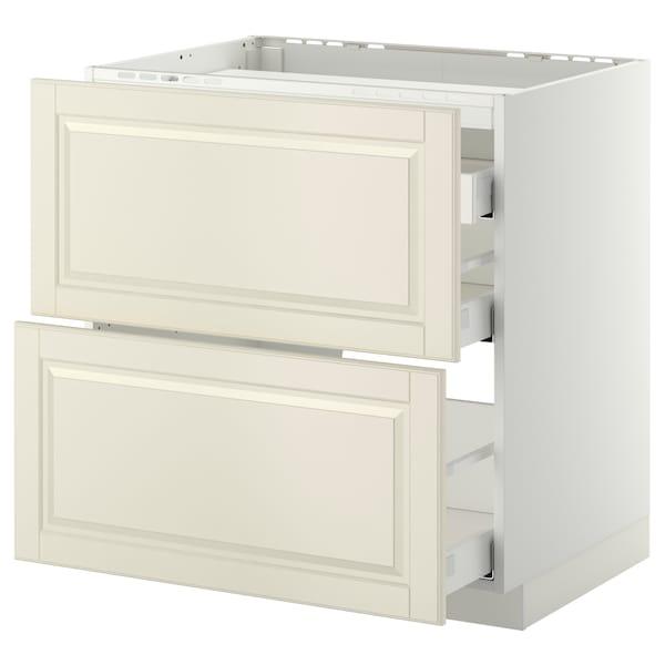 METOD / MAXIMERA Élément bas table cuisson/2fcs/3tir, blanc/Bodbyn blanc cassé, 80x60 cm