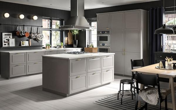 METOD / MAXIMERA Élément bas table cuisson/2fcs/3tir, blanc/Bodbyn gris, 80x60 cm