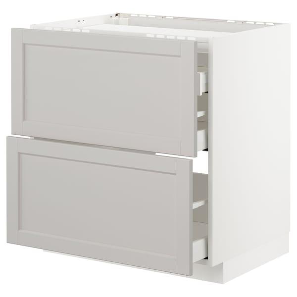 METOD / MAXIMERA Élément bas table cuisson/2fcs/3tir, blanc/Lerhyttan gris clair, 80x60 cm