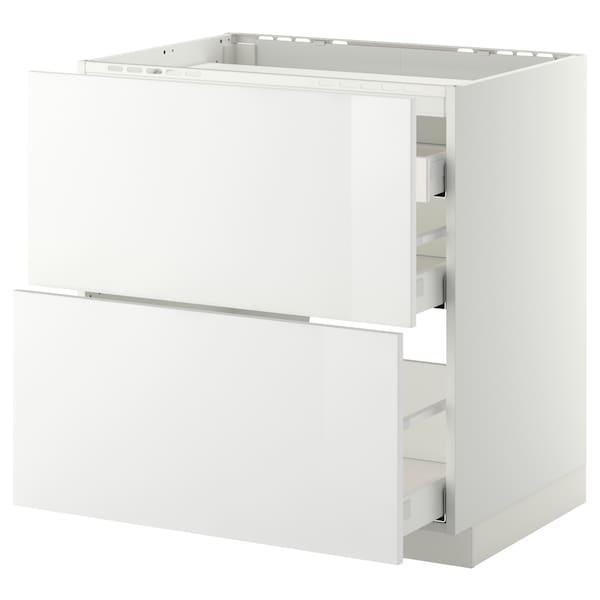 METOD / MAXIMERA Élément bas table cuisson/2fcs/3tir, blanc/Ringhult blanc, 80x60 cm