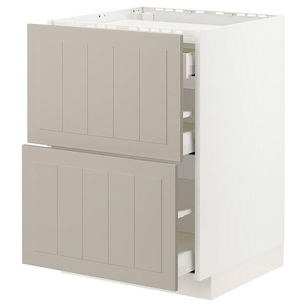 METOD / MAXIMERA Élément bas table cuisson/2fcs/3tir, blanc/Stensund beige, 60x60 cm