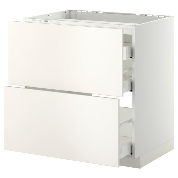 METOD / MAXIMERA Élément bas table cuisson/2fcs/3tir, blanc/Veddinge blanc, 80x60 cm