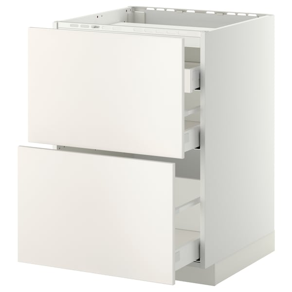 METOD / MAXIMERA Élément bas table cuisson/2fcs/3tir, blanc/Veddinge blanc, 60x60 cm