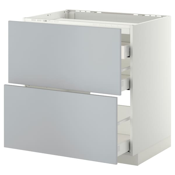 METOD / MAXIMERA Élément bas table cuisson/2fcs/3tir, blanc/Veddinge gris, 80x60 cm