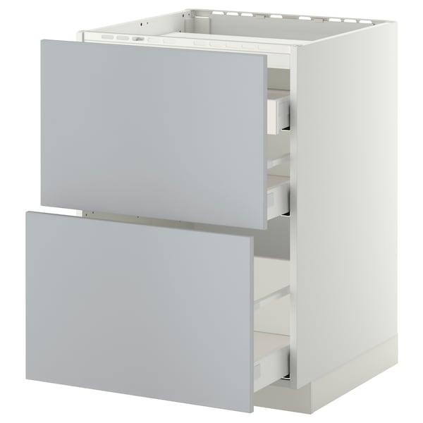 METOD / MAXIMERA Élément bas table cuisson/2fcs/3tir, blanc/Veddinge gris, 60x60 cm