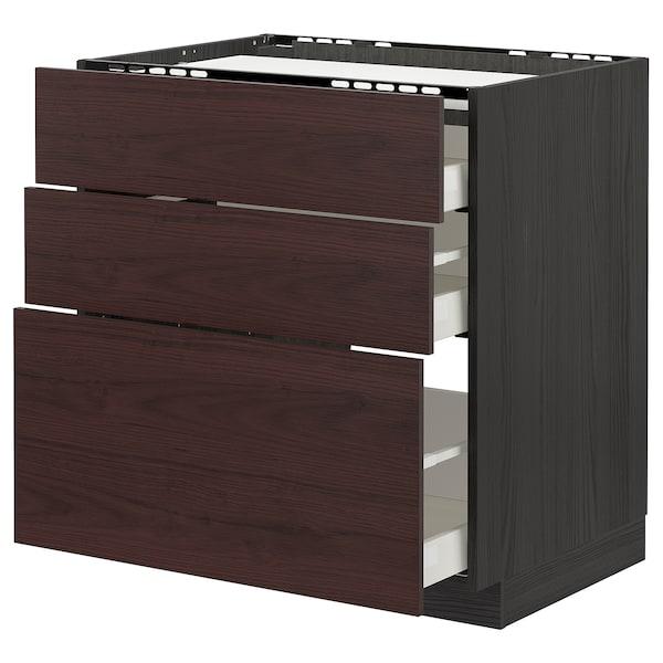 METOD / MAXIMERA Élément bas table cuisson/3fcs/3tir, noir Askersund/brun foncé décor frêne, 80x60 cm