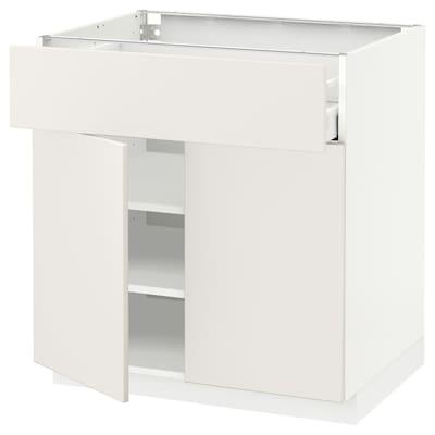 METOD / MAXIMERA Élément bas tiroir/2 portes, blanc/Veddinge blanc, 80x60 cm
