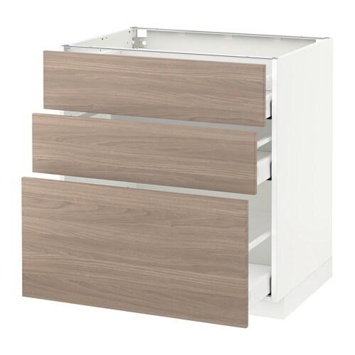 metod maximera l ment bas 3 tiroirs blanc 80x60 cm brokhult motif noyer gris clair ikea. Black Bedroom Furniture Sets. Home Design Ideas