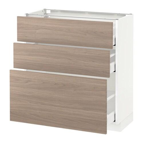 metod maximera l ment bas 3 tiroirs blanc brokhult motif noyer gris clair 80x37 cm ikea. Black Bedroom Furniture Sets. Home Design Ideas