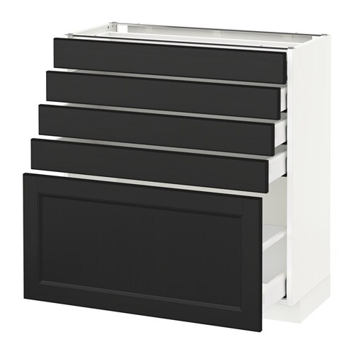 metod maximera l ment bas 5 tiroirs blanc laxarby brun noir 80x37 cm ikea. Black Bedroom Furniture Sets. Home Design Ideas