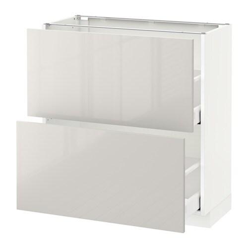 metod maximera l ment bas 2 tiroirs blanc ringhult brillant gris clair 80x37 cm ikea. Black Bedroom Furniture Sets. Home Design Ideas