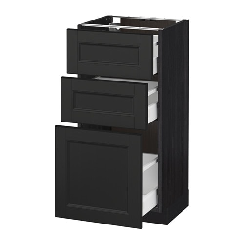metod maximera l ment bas 3 tiroirs effet bois noir laxarby brun noir 40x37 cm ikea. Black Bedroom Furniture Sets. Home Design Ideas