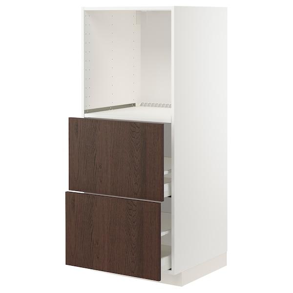 METOD / MAXIMERA Élément haut 2 tiroirs pr four, blanc/Sinarp brun, 60x60x140 cm
