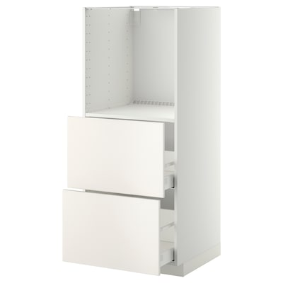 METOD / MAXIMERA Élément haut 2 tiroirs pr four, blanc/Veddinge blanc, 60x60x140 cm