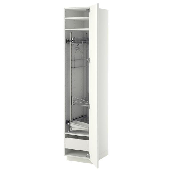 METOD / MAXIMERA Élément haut + rangements prod entr, blanc/Ringhult blanc, 40x60x200 cm