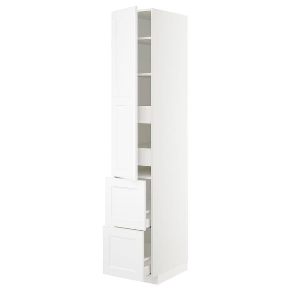 METOD / MAXIMERA Élément haut+tablettes/4tir/pte/2fc, blanc/Axstad blanc mat, 40x60x220 cm