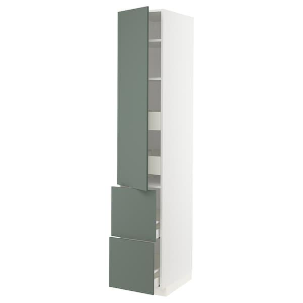 METOD / MAXIMERA Élément haut+tablettes/4tir/pte/2fc, blanc/Bodarp gris vert, 40x60x220 cm
