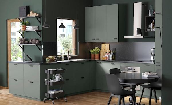 METOD / MAXIMERA Élément haut+tablettes/4tir/pte/2fc, blanc/Bodarp gris vert, 60x60x220 cm