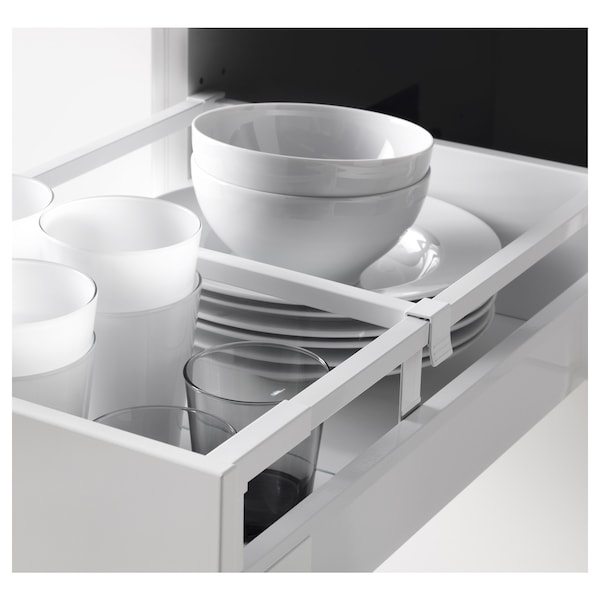 METOD / MAXIMERA Élément haut+tablettes/4tir/pte/2fc, blanc/Bodbyn blanc cassé, 40x60x220 cm