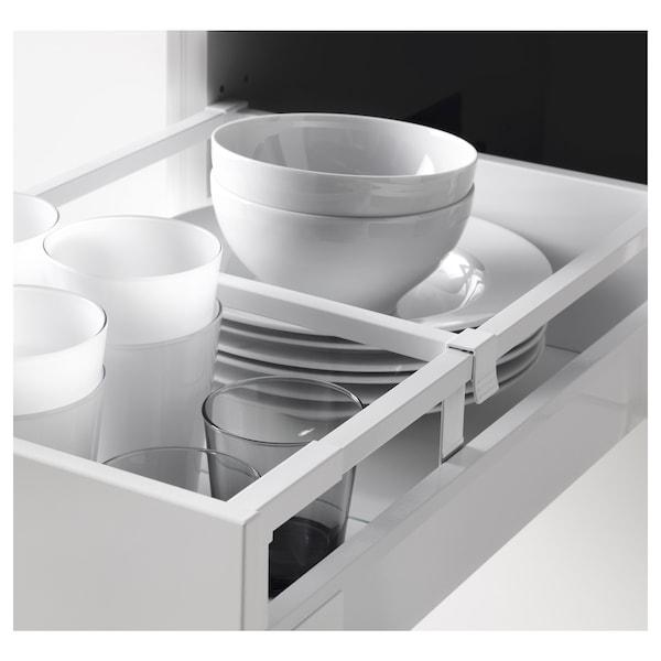 METOD / MAXIMERA Élément haut+tablettes/4tir/pte/2fc, blanc/Brokhult gris clair, 40x60x220 cm
