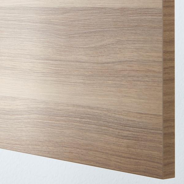 METOD / MAXIMERA Élément haut+tablettes/4tir/pte/2fc, blanc/Brokhult gris clair, 60x60x220 cm