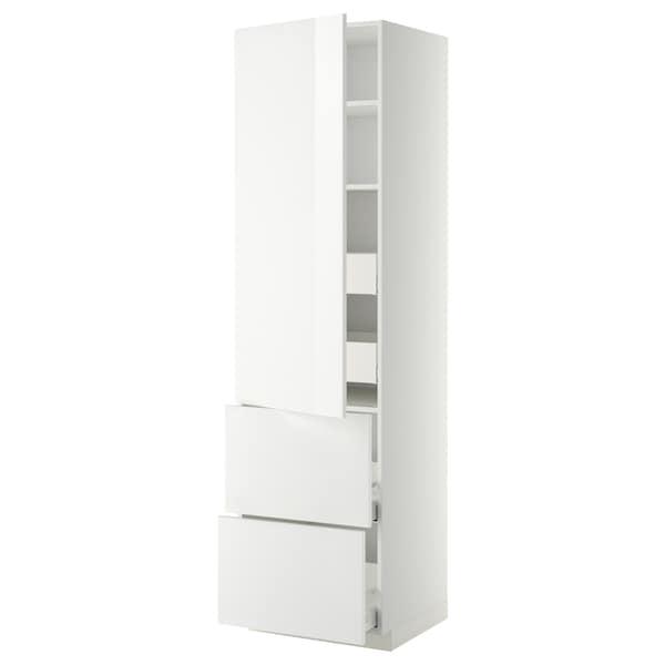 METOD / MAXIMERA Élément haut+tablettes/4tir/pte/2fc, blanc/Ringhult blanc, 60x60x220 cm