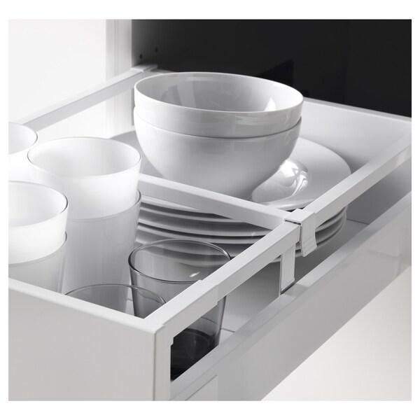 METOD / MAXIMERA Élément haut+tablettes/4tir/pte/2fc, blanc/Ringhult blanc, 40x60x220 cm