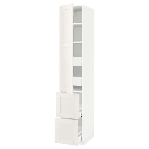 METOD / MAXIMERA Élément haut+tablettes/4tir/pte/2fc, blanc/Sävedal blanc, 40x60x220 cm