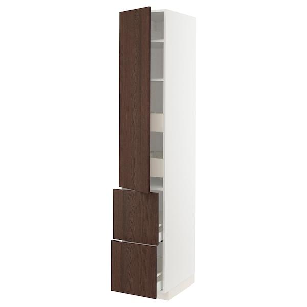 METOD / MAXIMERA Élément haut+tablettes/4tir/pte/2fc, blanc/Sinarp brun, 40x60x220 cm