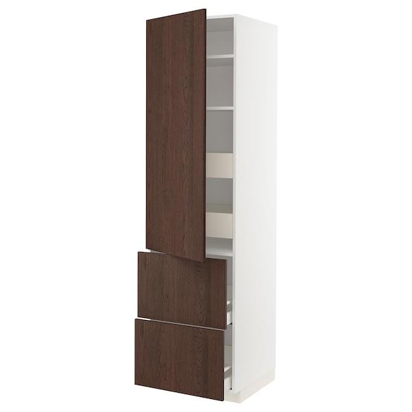 METOD / MAXIMERA Élément haut+tablettes/4tir/pte/2fc, blanc/Sinarp brun, 60x60x220 cm
