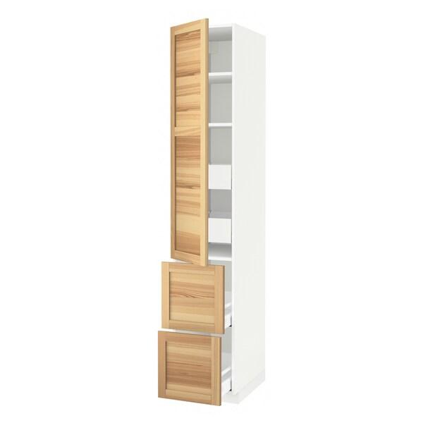 METOD / MAXIMERA Élément haut+tablettes/4tir/pte/2fc, blanc/Torhamn frêne, 40x60x220 cm