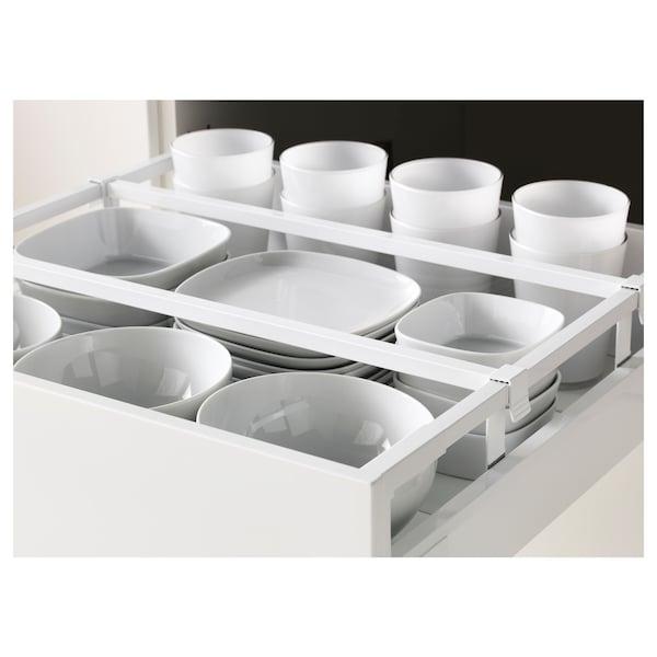 METOD / MAXIMERA Élément haut+tablettes/4tir/pte/2fc, blanc/Veddinge gris, 60x60x220 cm