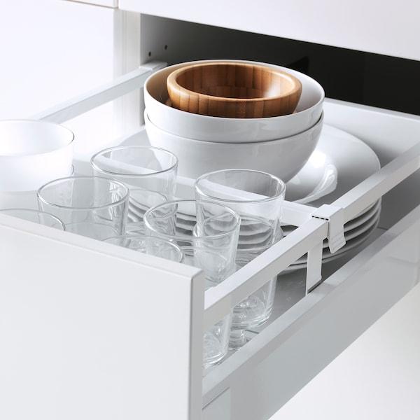 METOD / MAXIMERA Élément haut+tablettes/4tir/pte/2fc, blanc/Veddinge gris, 40x60x220 cm