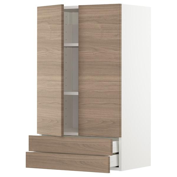 METOD / MAXIMERA Élément mural 2portes/2tiroirs, blanc/Brokhult gris clair, 60x100 cm